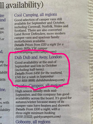 Dub Dub and Away appear in the weekend section of The Saturday Times
